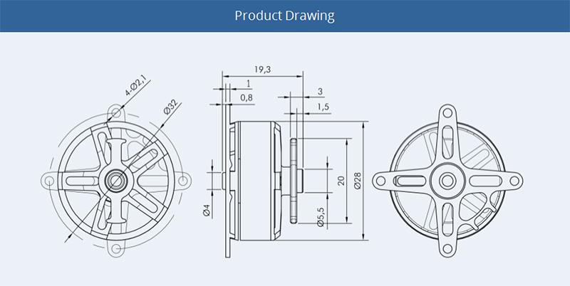 AT2306 KV1900 by T-Motor drawing